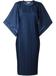 Veronique Branquinho Oversized Pleated Dress Blue