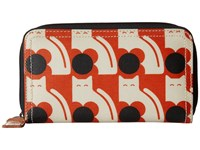 Orla Kiely Poppy Cat Print Big Zip Wallet Persimmon Wallet Handbags Orange