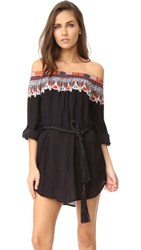 Red Carter Bohemian Breeze Off Shoulder Cover Up Black Multi