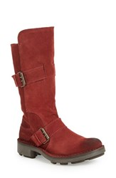 Fly London Women's 'Naio' Slouchy Mid Calf Boot Wine Oil Suede