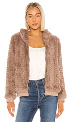 Heartloom Peri Faux Fur Jacket In Taupe. Fawn