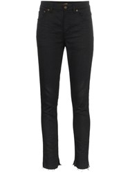 Saint Laurent High Waisted Skinny Jeans Black
