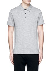 Rag And Bone Standard Issue' Cotton Blend Jersey Polo Shirt Grey