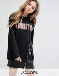 Milk It Vintage Long Sleeve T Shirt With Romantic Text And Lace Up Detail Black