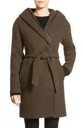 Women's Calvin Klein Hooded Wool Blend Wrap Coat