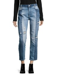 Free People Cropped Patchwork Jeans Blue
