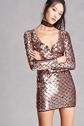 Forever 21 Sequined V Neck Bodycon Dress Rose Gold