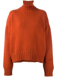 Studio Nicholson 'Arad' Chunky Roll Neck Jumper Yellow Orange