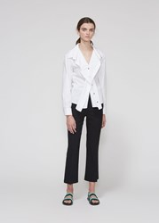 Cedric Charlier Long Sleeve Fluttered Button Up White