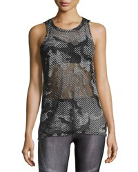 Terez Sheer Camo Burnout Muscle Tee Gray Gray Pattern