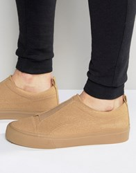 Asos Slip On Elastic Trainers In Camel Faux Suede Camel Beige