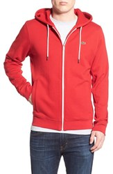 Men's Lacoste Front Zip Hoodie Lighthouse Red White