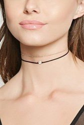Forever 21 Cubic Zirconia Layered Choker Black Gold