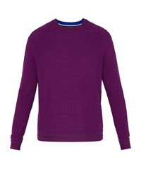 Ted Baker Men's Toxic Ls All Over Stitch Crew Neck Purple