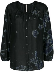 Raquel Allegra Silk Abstract Print Blouse Black
