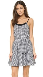 Caroline Constas Demi Dress With Multicolor Gingham Sash Black Gingham