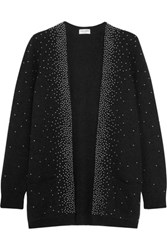 Saint Laurent Oversized Studded Mohair Blend Cardigan Black