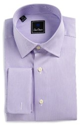 David Donahue Men's Big And Tall Regular Fit Stripe Dress Shirt White Lilac