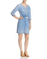 Design History Embroidered Chambray Peasant Dress Light Tencel