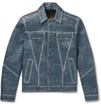 Tod's City Denim Effect Leather Jacket Indigo