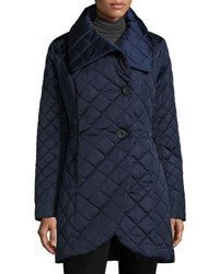 T Tahari Quilted Single Breasted Coat Deep Navy