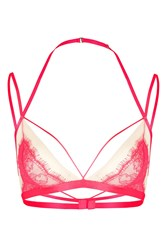 Topshop Eyelash Lace Triangle Bra Red