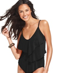 Magicsuit Tiered Ruffle Tankini Top Women's Swimsuit Black