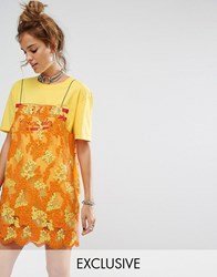 Reclaimed Vintage Inspired T Shirt Dress With Smock Lace Overlay Yellow
