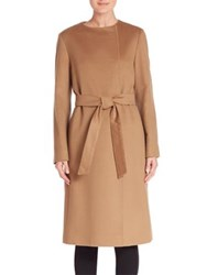 Cinzia Rocca Solid Long Sleeve Woolen Coat Brown
