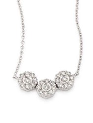 Hueb Three Flower Diamond And 18K White Gold Pendant Necklace