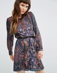 Lavand Sheer Long Sleeve Dark Floral Dress With Belt Gy Grey