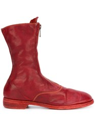 Guidi Front Zip Calf Length Boots Red