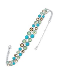 Anne Klein Cubic Zirconia Silvertone And Epoxy Stone Choker Necklace Turquoise