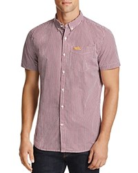 Superdry London Striped Regular Fit Button Down Shirt Burgundy