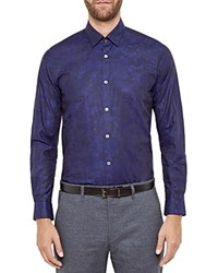 Ted Baker Floral Jacquard Regular Fit Button Down Shirt Navy