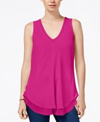 Rachel Roy Layered Sleeveless Top Dragonfruit