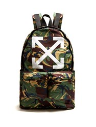 Off White Arrows Cotton Backpack Green Multi