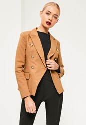 Missguided Nude Military Style Blazer Camel