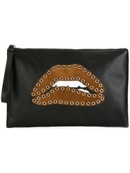 Red Valentino Eyelet Embellished Lips Clutch Black