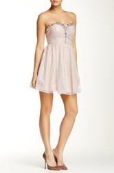 Speechless Strapless Jeweled Glitter Tulle Party Dress Pink