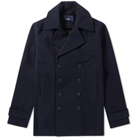 Fred Perry Melton Wool Pea Coat Blue