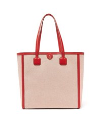 Mark Cross Antibes Large Leather Trimmed Canvas Tote Red Multi