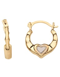 Lord And Taylor 14K Yellow And White Gold Heart Huggie Hoop Earrings