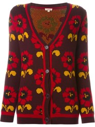P.A.R.O.S.H. Floral Intarsia Knit Cardigan Red