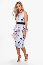 Boohoo Ruby Sleeveless Peplum Midi Dress Grey
