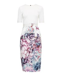 Ted Baker Stephie Illuminated Bloom Fitted Dress Purple
