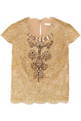 Reem Acra Embellished Cotton Blend Lace And Tulle Top Gold