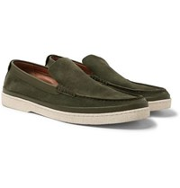 Ermenegildo Zegna Leather Trimmed Suede Loafers Green