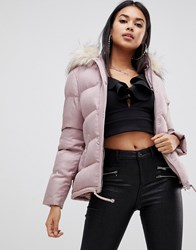 Lipsy Cropped Puffer Jacket With Hood And Faux Fur Trim In Nude Pink