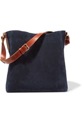 Lanvin New Hobo Leather Trimmed Suede Tote Midnight Blue